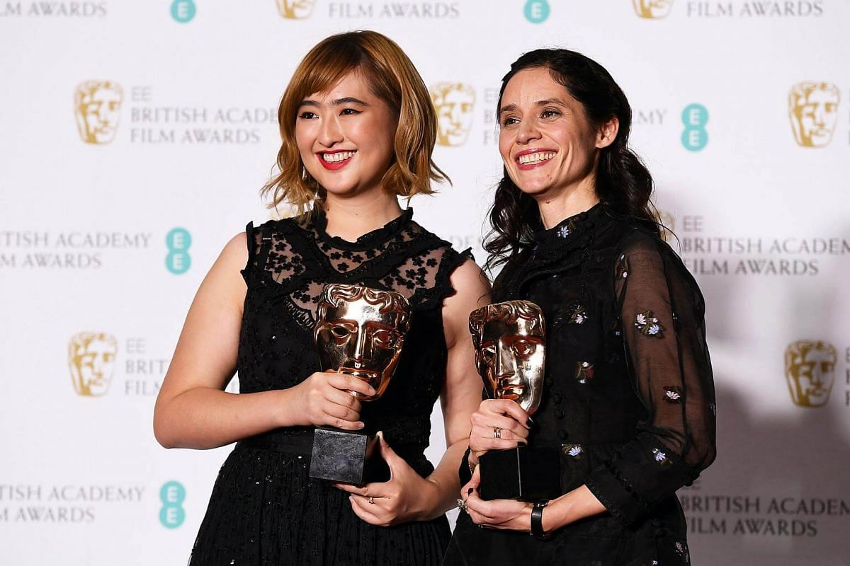 Ser En Low (left) and Paloma Baeza pose in the press room after winning the award for Best British Short for Poles Apart during the 71st annual British Academy Film Awards at the Royal Albert Hall in London, on Feb 18, 2018.