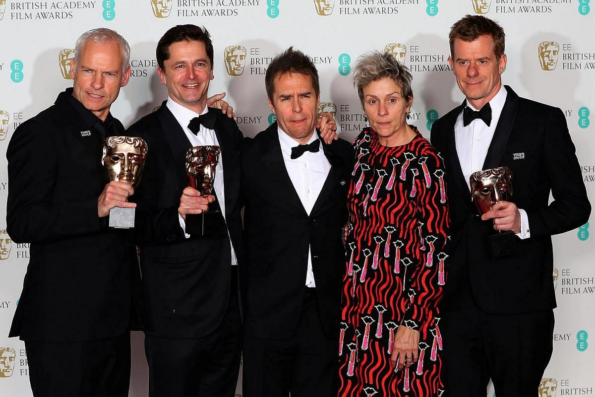 (From left) Martin McDonagh, Peter Czernin, Sam Rockwell, Frances McDormand and Graham Broadbent holding their trophies for Best Film for Three Billboards Outside Ebbing, Missouri at the British Academy of Film and Television Awards at the Royal Albe