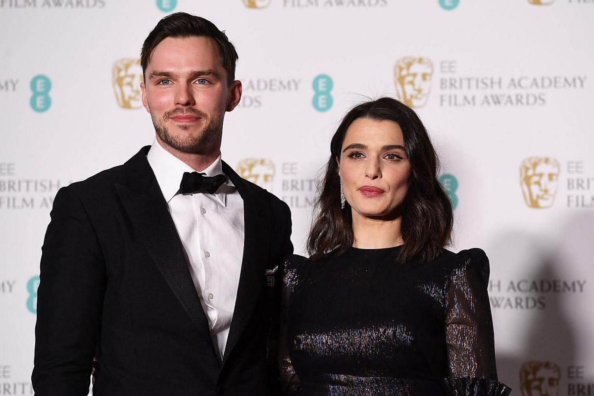 Nicholas Hoult and Rachel Weisz pose in the press room during the 71st annual British Academy Film Awards at the Royal Albert Hall in London, on Feb 18, 2018.