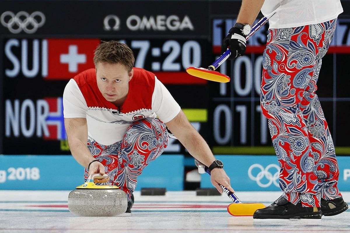 Christoffer Svae of Norway delivers a stone.