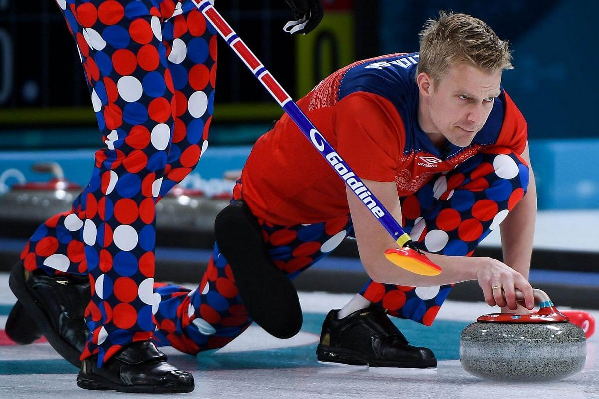 Norway's Haavard Vad Petersson throws the stone during the curling men's round robin session between Norway and South Korea during the Pyeongchang 2018 Winter Olympic Games at the Gangneung Curling Centre in Gangneung, on Feb 16, 2018.
