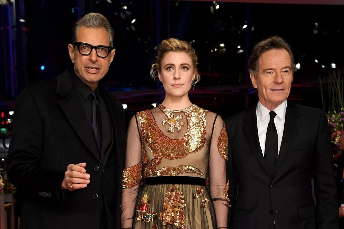 Actor Jeff Goldblum, actress Greta Gerwig and actor Bryan Cranston pose at the red carpet for the opening ceremony of the 68th annual Berlin International Film Festival.