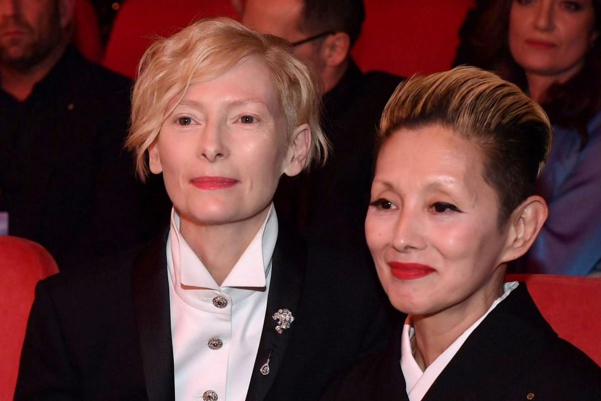 Tilda Swinston (left) and Mari Natsuki at the beginning of the opening ceremony of the 68th annual Berlin International Film Festival.