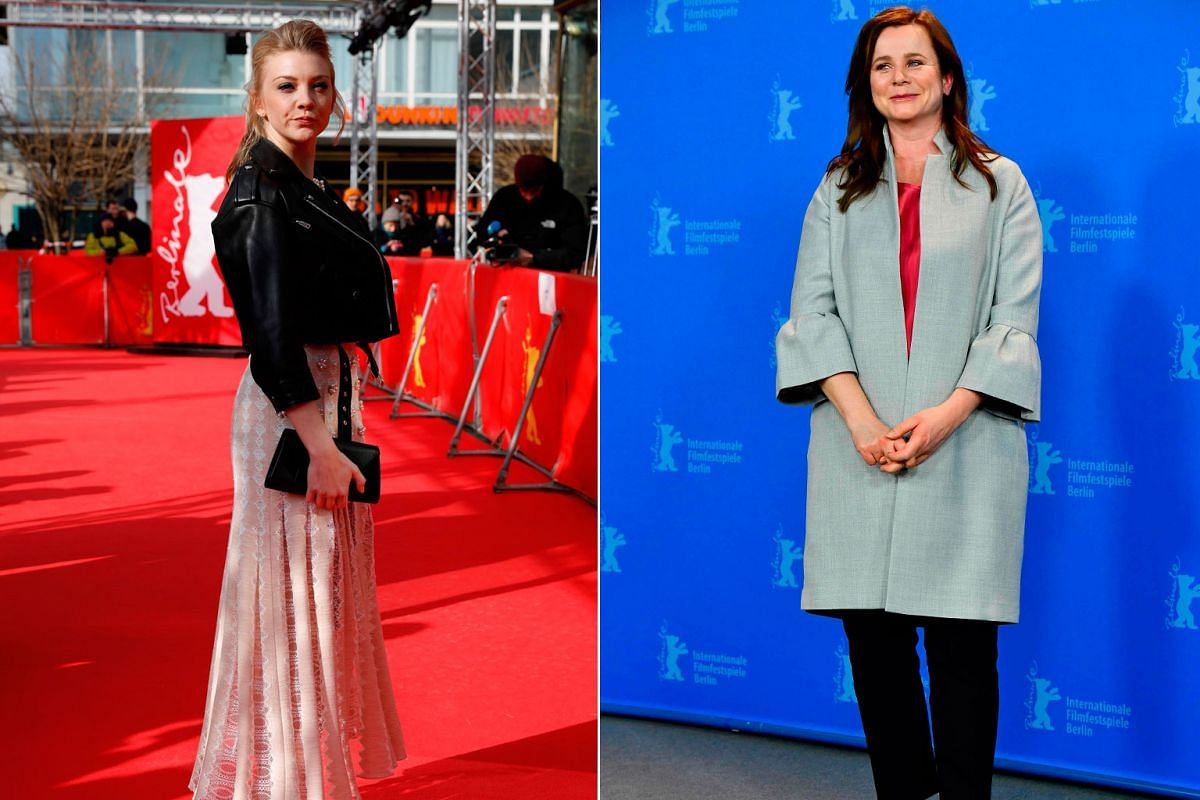 British actresses Natalie Dormer (left) and Emily Watson posing on the red carpet of the 68th annual Berlin International Film Festival.