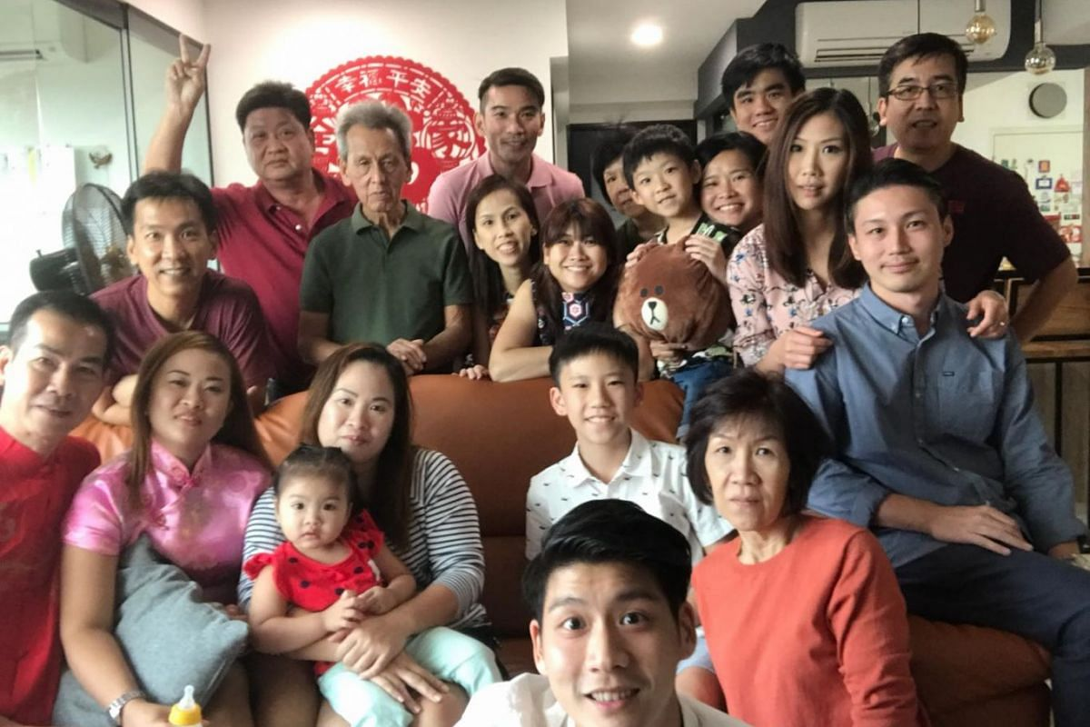 """ST reader Jolene Cheong (third from right) with her family of four generations at her cousin's new BTO flat, on Feb 17, 2017. """"We are a bunch of close knitted folks who loves the company of one another! We gather together not only during Chinese New"""