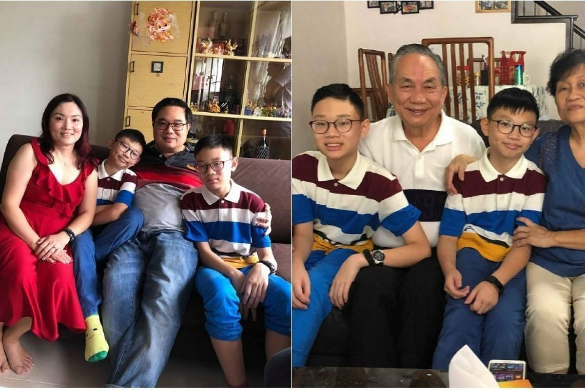(From left) Mr Chan Chian Yeow and wife Lim Sze Hui, with their two sons Chan Shin Ler, 12, and Chan Shin Yong, 10, and his parents Chan Yit Fatt and Ngeow Min Fah.