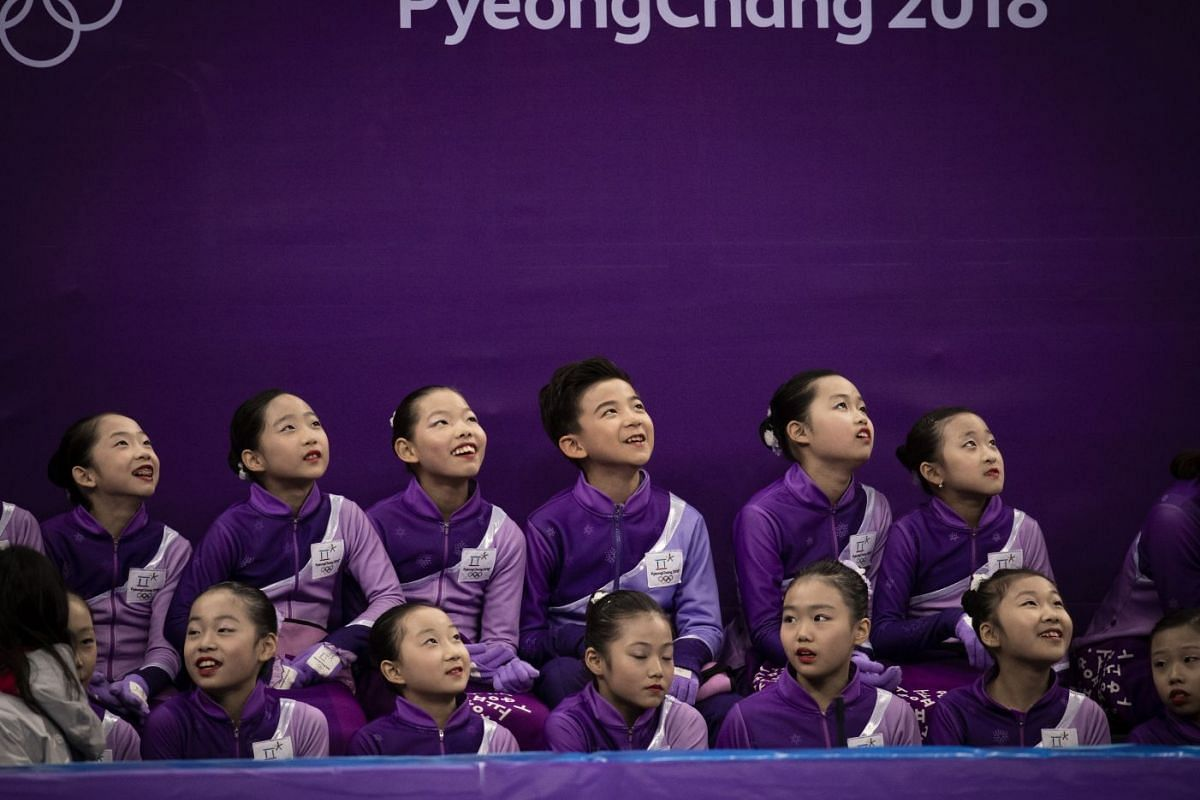 Children watching during the short dance portion of the ice dance event at the 2018 Winter Olympics in the Gangneung Ice Arena in Gangneung, South Korea, on Feb 19, 2018.