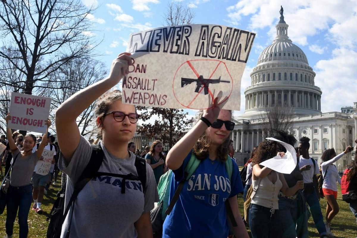 Hundreds of students from the districts of Columbia, Maryland and Virginia staged walkouts and gather in front of the Capitol building in support of gun control in the wake of the Florida shooting on Feb 21, 2018, in Washington, DC.