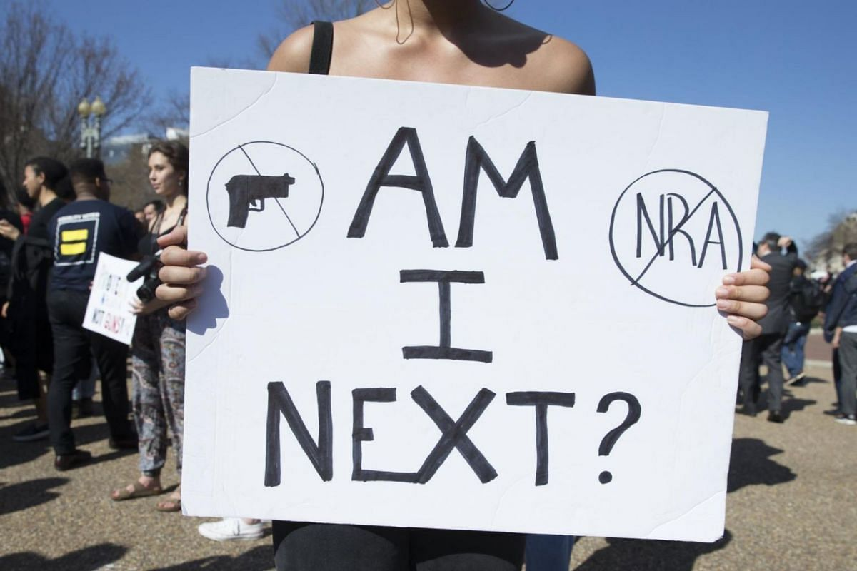 Students demonstrating for stronger gun control laws outside the White House in Washington, DC.