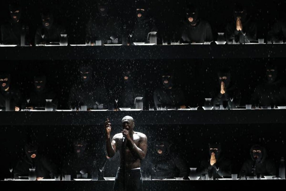 British grime and hip-hop artist Stormzy performs during the BRIT Awards 2018 ceremony and live show in London on Feb 21, 2018.
