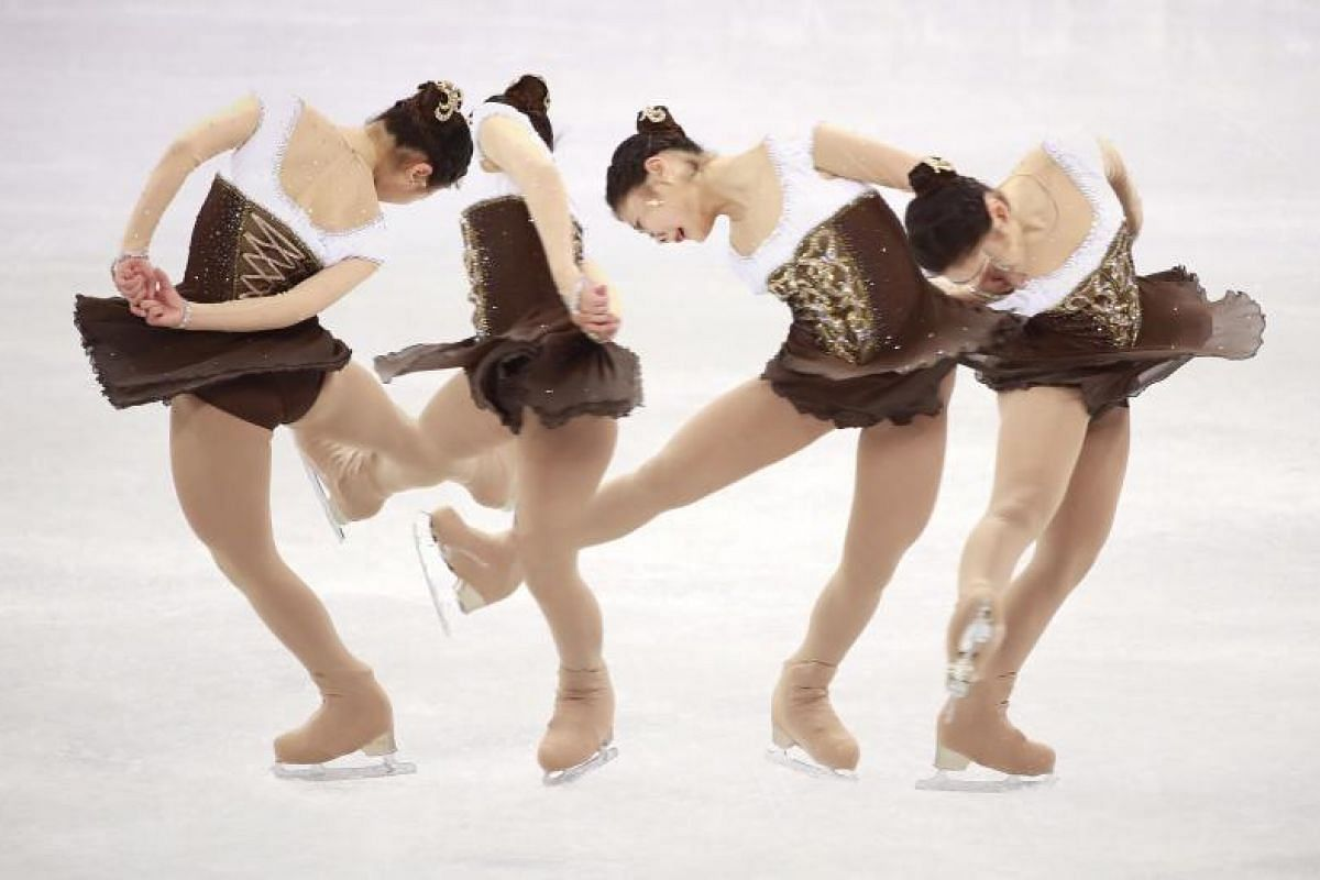 A multiple exposure image shows Kim Hanul of South Korea in action during the Women Single Short Program of the Figure Skating competition at the Gangneung Ice Arena during the PyeongChang 2018 Olympic Games in South Korea on Feb 21, 2018.