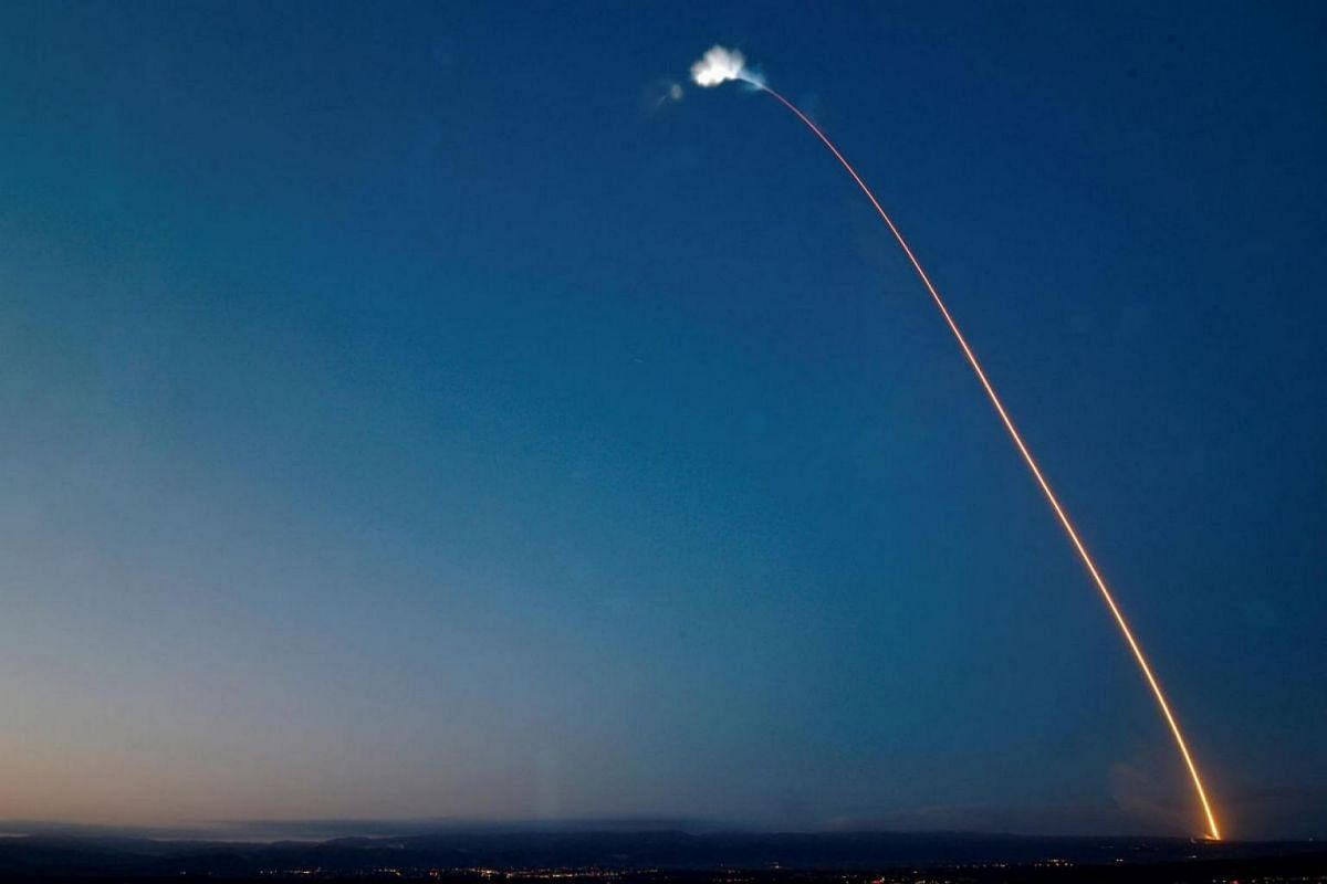 The SpaceX Falcon 9 rocket carrying a PAZ Earth Observation satellite streaks across the sky after launching from Vandenberg Air Force Base (AFB), California, US, on Feb 22, 2018.