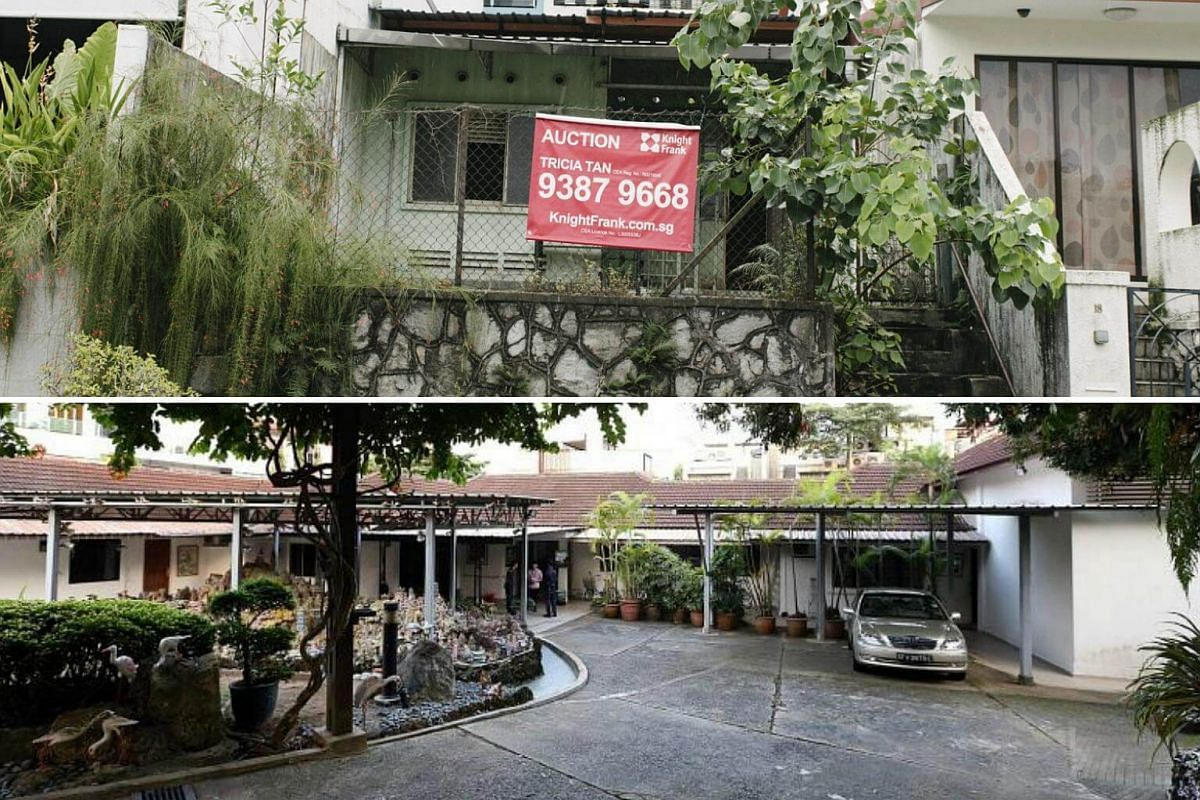 (Top) The small single-storey terraced house off Upper Thomson Road where two sets of skeletal remains were found and (bottom) the bungalow on a sprawling piece of land off Yio Chu Kang Road that was almost swindled from a rich widow.