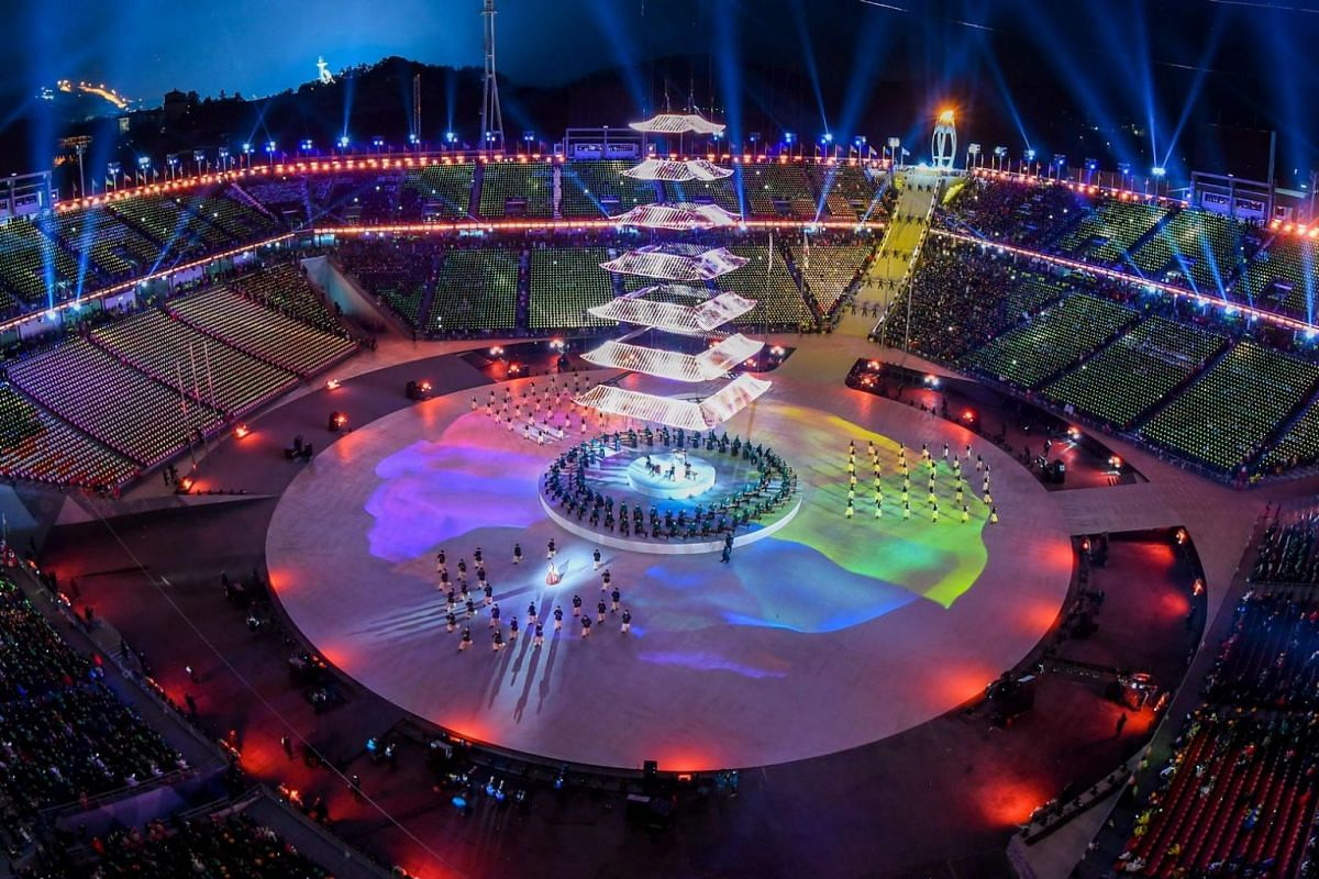 A general view of the closing ceremony of the Pyeongchang 2018 Winter Olympic Games.