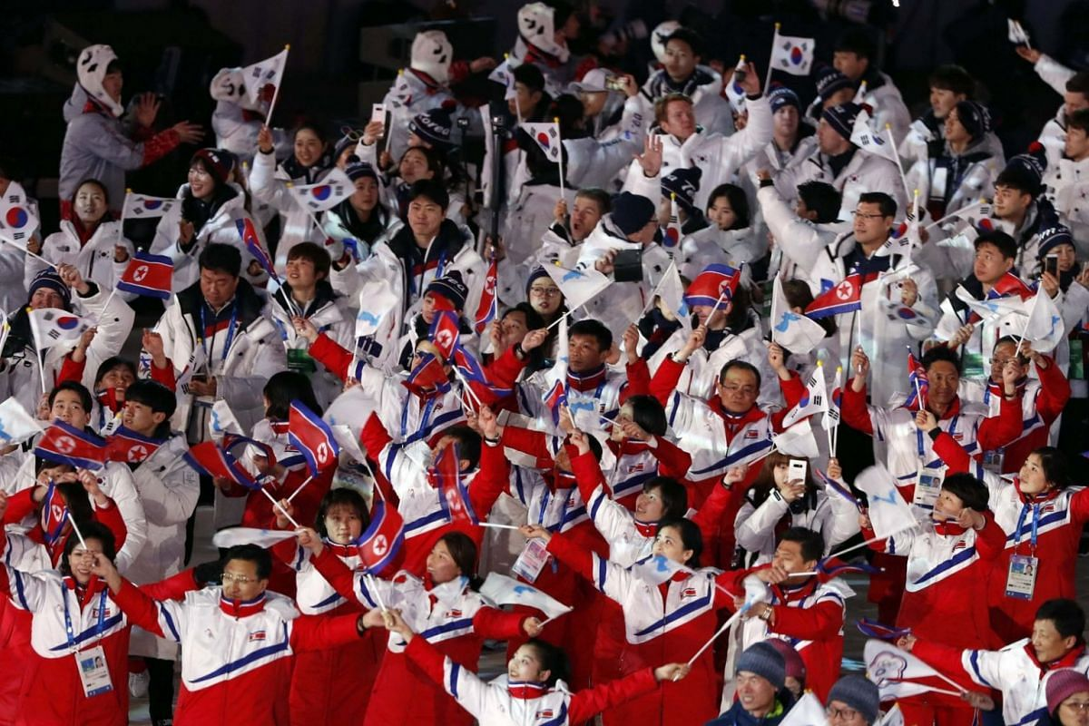 Athletes from North Korea and South Korea during the closing ceremony of the Pyeongchang 2018 Winter Olympic Games.