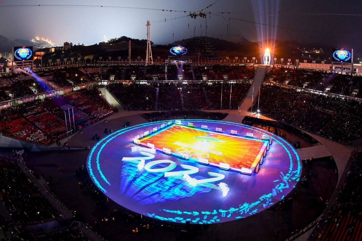 "A projection of ""Beijing 2022"" is shown during the closing ceremony of the Pyeongchang 2018 Winter Olympic Games."