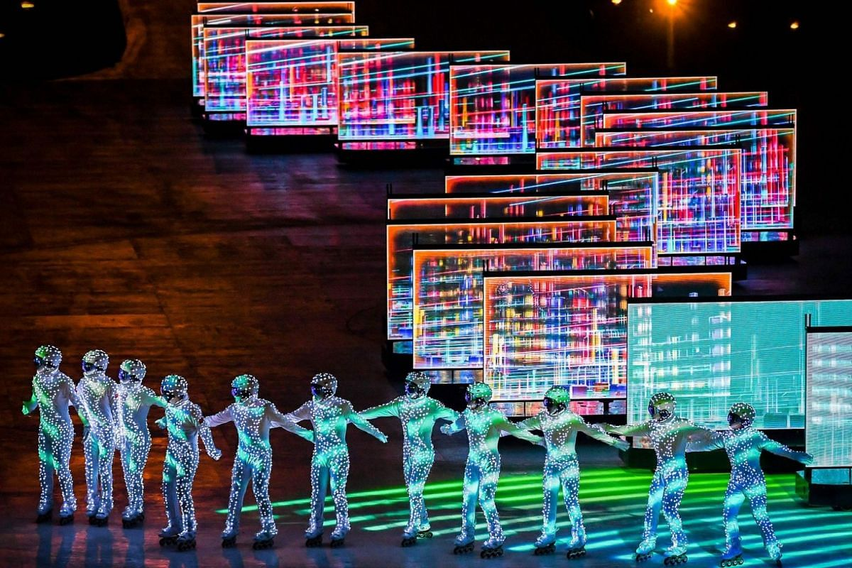 Entertainers perform during the closing ceremony of the Pyeongchang 2018 Winter Olympic Games.