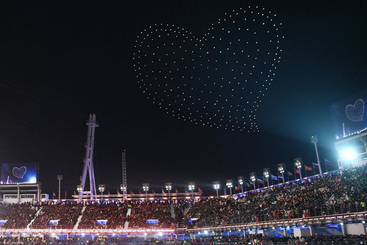 A heart is seen in the sky during the closing ceremony of the Pyeongchang 2018 Winter Olympic Games.