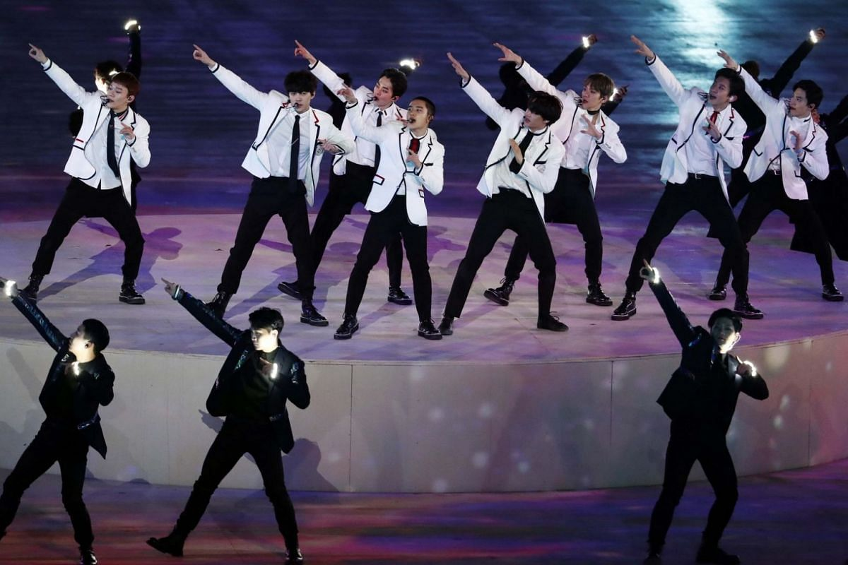 K-pop band EXO perform at the closing ceremony of the Pyeongchang 2018 Winter Olympic Games.