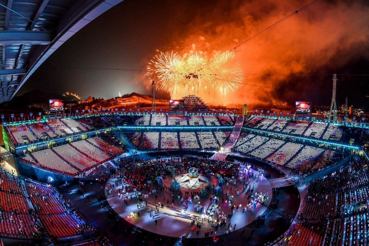 Fireworks are set off during the closing ceremony of the Pyeongchang 2018 Winter Olympic Games.
