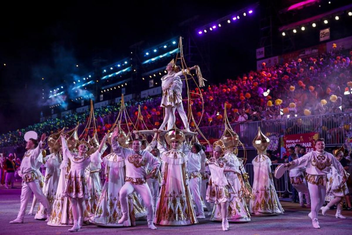 A Russian dance troupe performs during the Chingay parade.