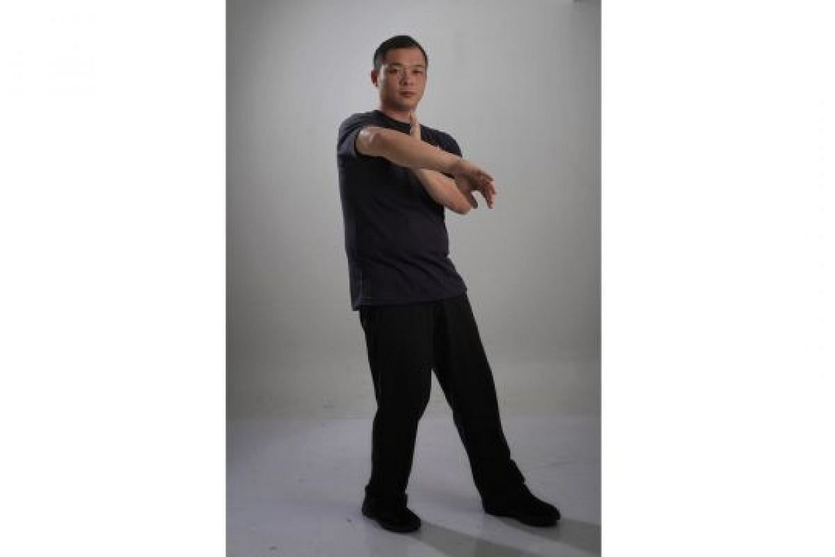WINGED HAND (BONG SAU): Roll one's forearm out and push the elbow up. This technique can be used to deflect straight punches.