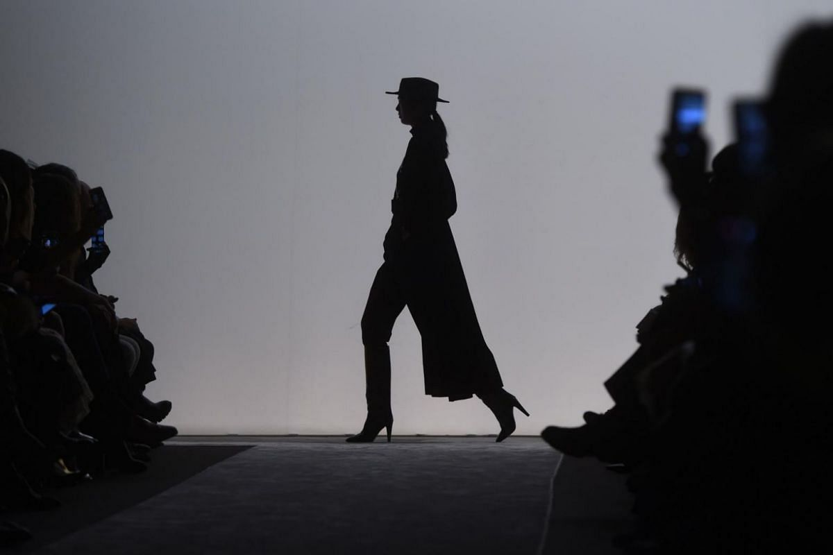 A model presents a creation by Laura Biagiotti during the women's Fall/Winter 2018/2019 collection fashion show in Milan, Italy, on Feb 25, 2018.