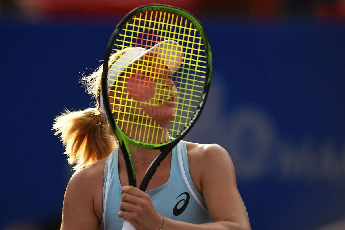 Australian tennis player Daria Gavrilova returns the ball to US Madison Brengle during the Mexico WTA Open women's single tennis match, in Acapulco, Guerrero state, Mexico, on Feb 26, 2018.