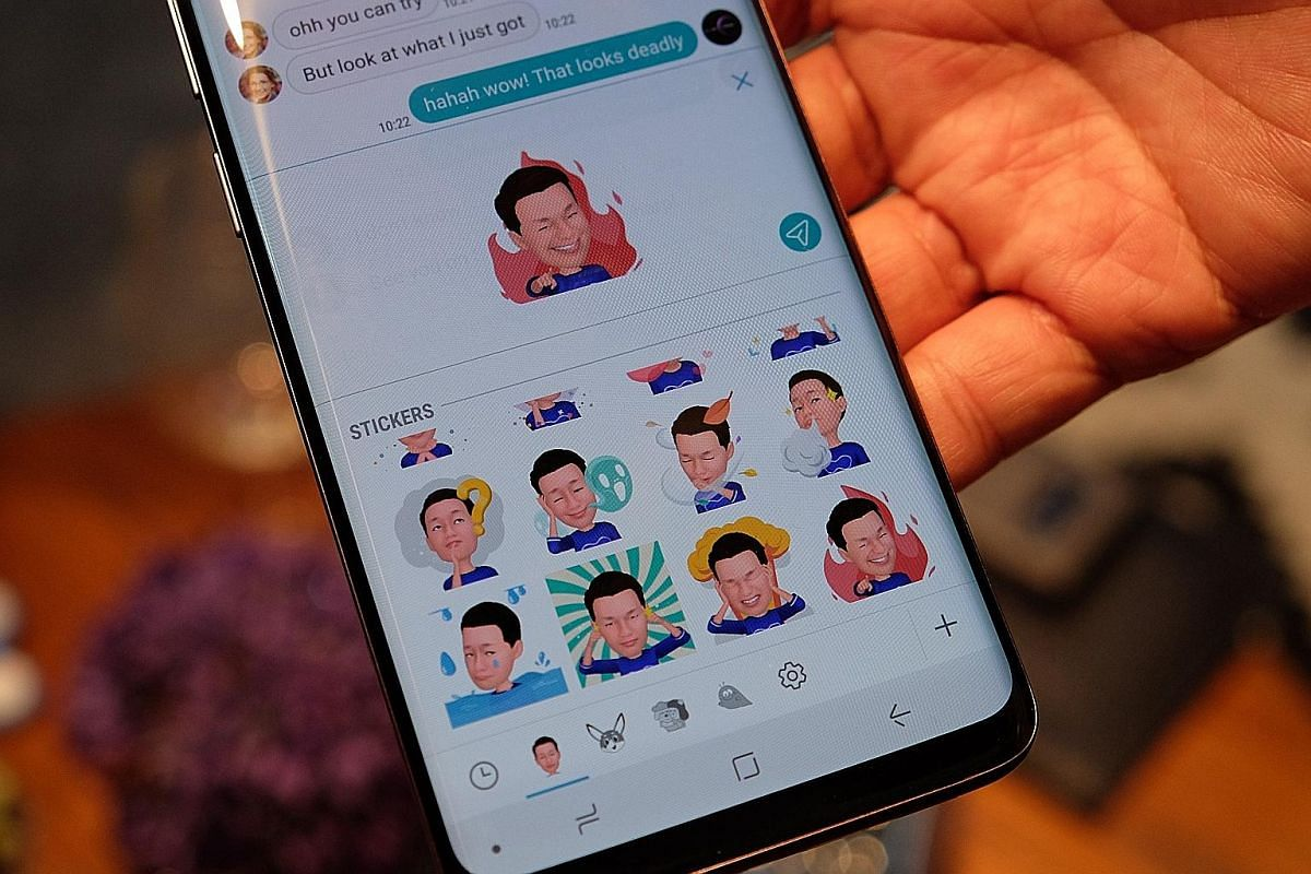 The S9 line (from left) lets users send animated emojis of themselves, recognises food items and has moved the fingerprint sensor below the camera.