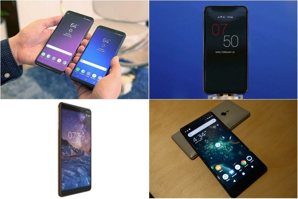 (Clockwise from top left) Samsung S9/S9+, LG V30S, Sony XZ2 and Nokia 7 Plus.