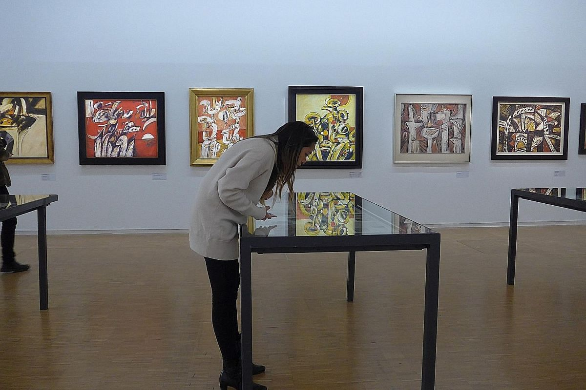 More than 70 works and archival materials are on display at the exhibition (left) in Centre Pompidou.