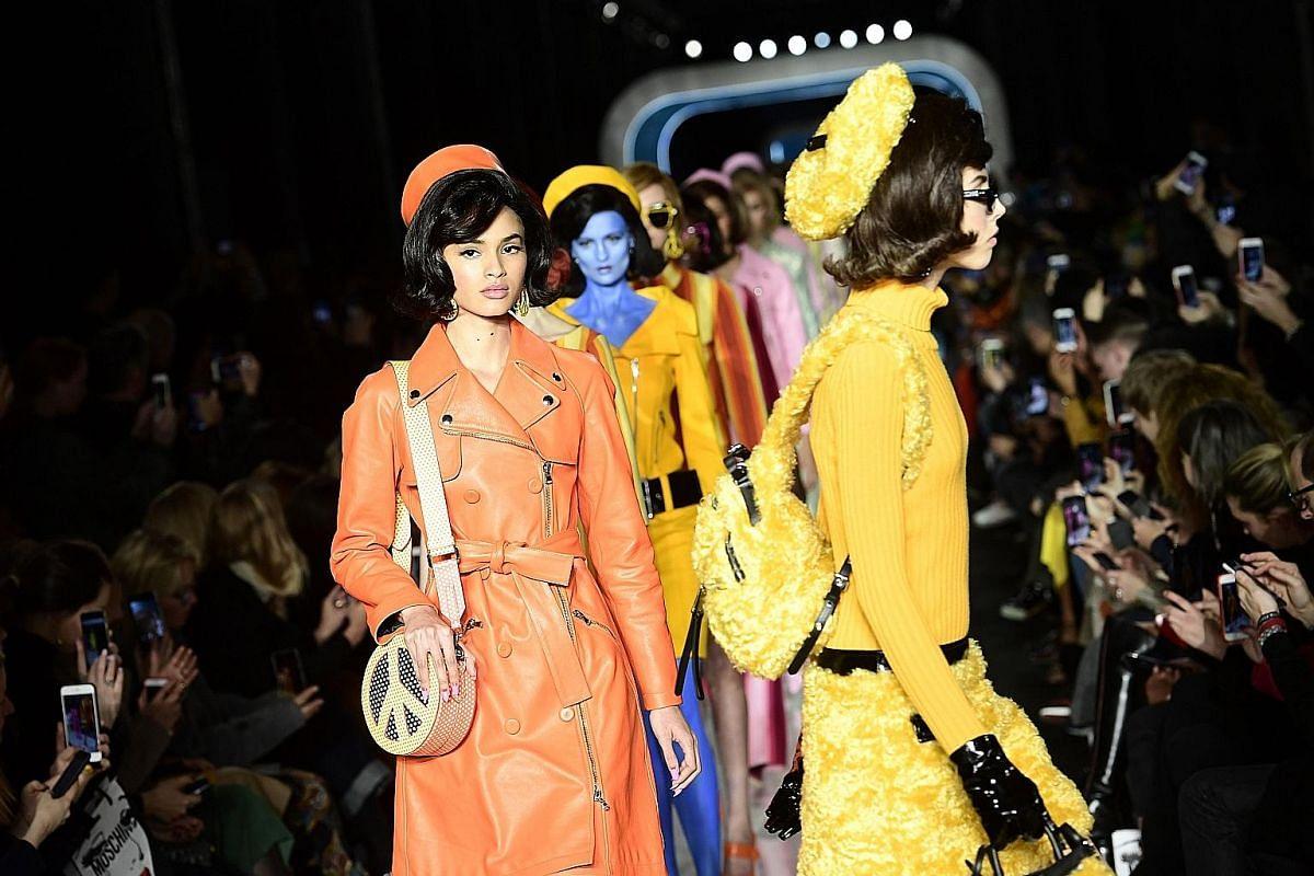 Prada (left) and Moschino (above) at fashion week.