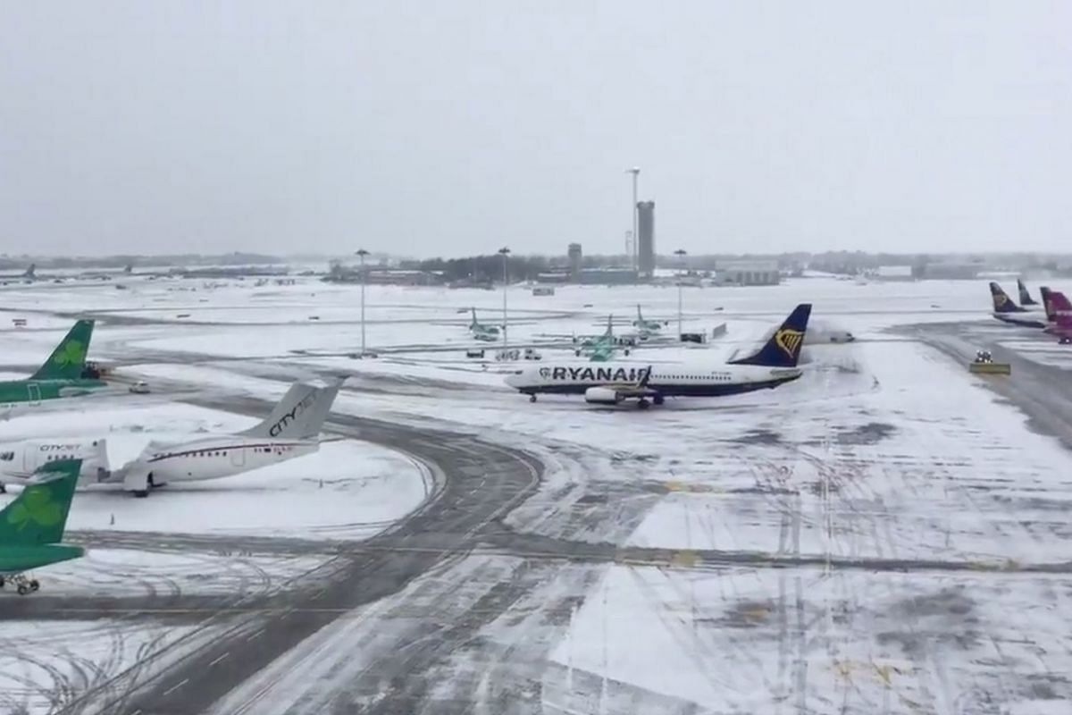 The Dublin Airport is seen covered with snow, in Dublin, Ireland, on March 1, 2018.