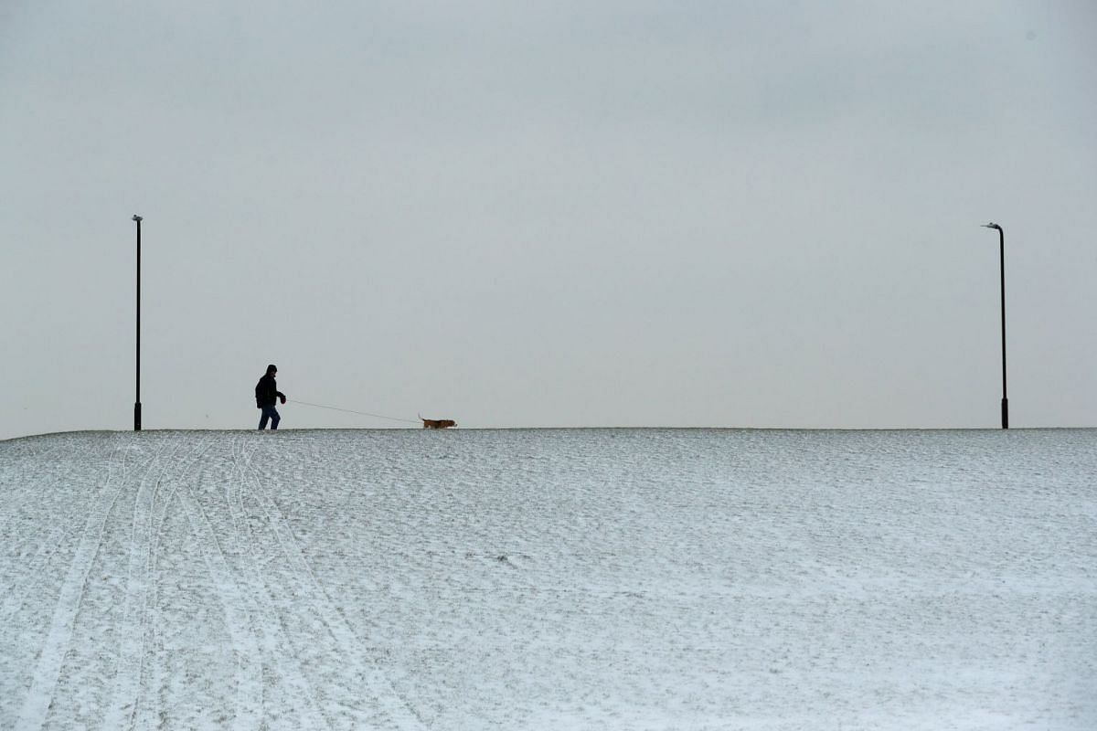 A man walks a dog during a break in light snow showers at Furzton Lake, Milton Keynes, Britain, on March 1, 2018.