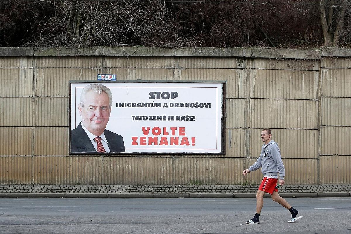 A poster promoting incumbent president Milos Zeman ahead of a presidential election run-off in Prague, Czech Republic, in January. Pro-Russian Zeman pulled off a narrow re-election victory in January with the help of a massive advertising campaign fi