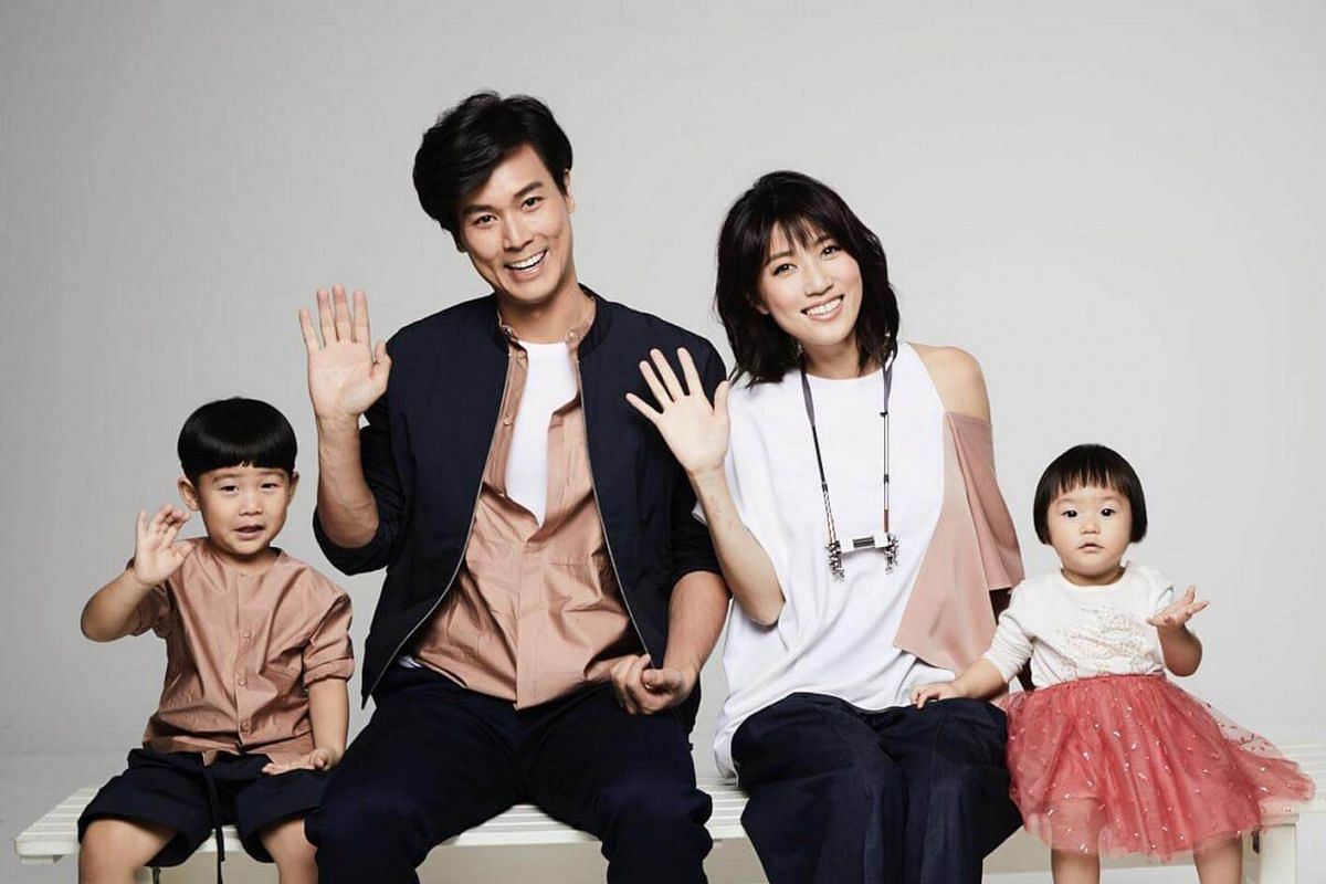 Local celebrity couple Andie Chen and Kate Pang with their children, Aiden and Avery.