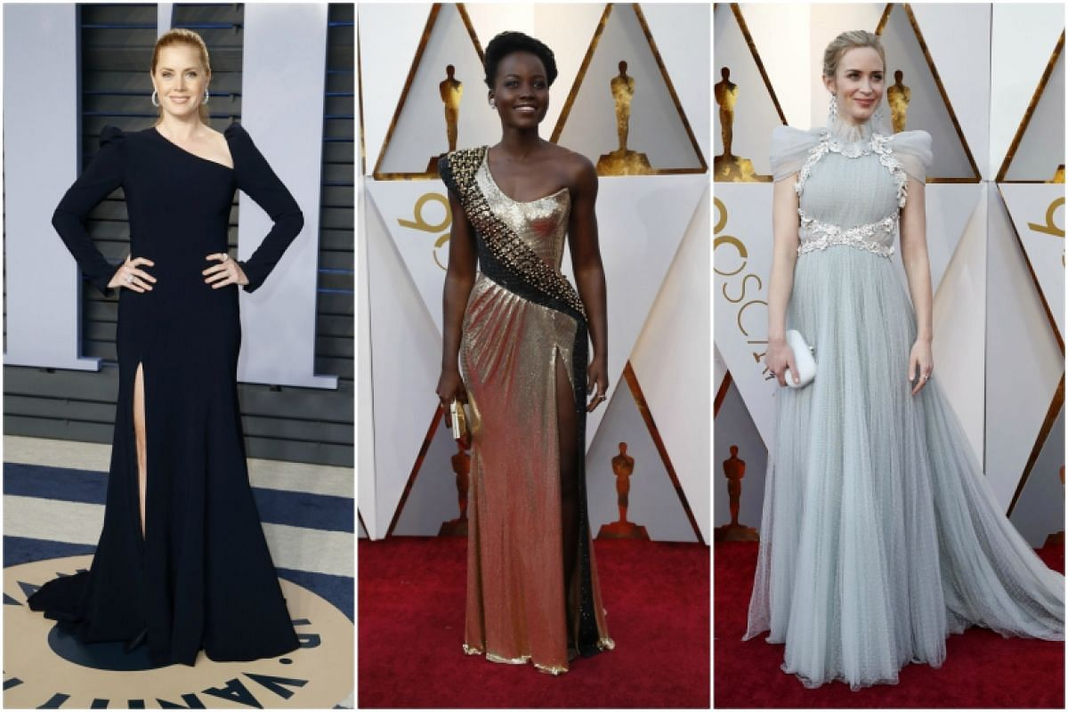 (From left) Amy Adams, Lupita Nyong'o and Emily Blunt on the red carpet at the 90th Annual Academy Awards at Dolby Theatre in Hollywood, California on March 4, 2018.