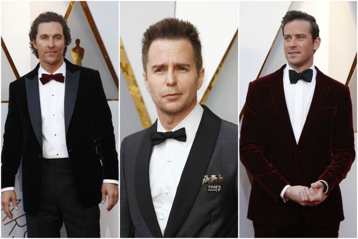 (From left) Matthew McConaughey, Sam Rockwell and Armie Hammer at the 90th Annual Academy Awards at the Dolby Theatre in Hollywood, California on March 4, 2018.