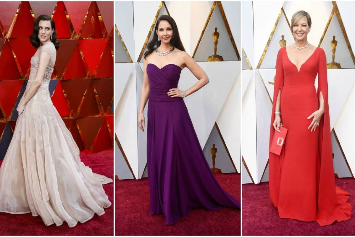 (From left) Allison Williams, Ashley Judd and Allison Janney at the 90th Annual Academy Awards at the Dolby Theatre in Hollywood, California on March 4, 2018.