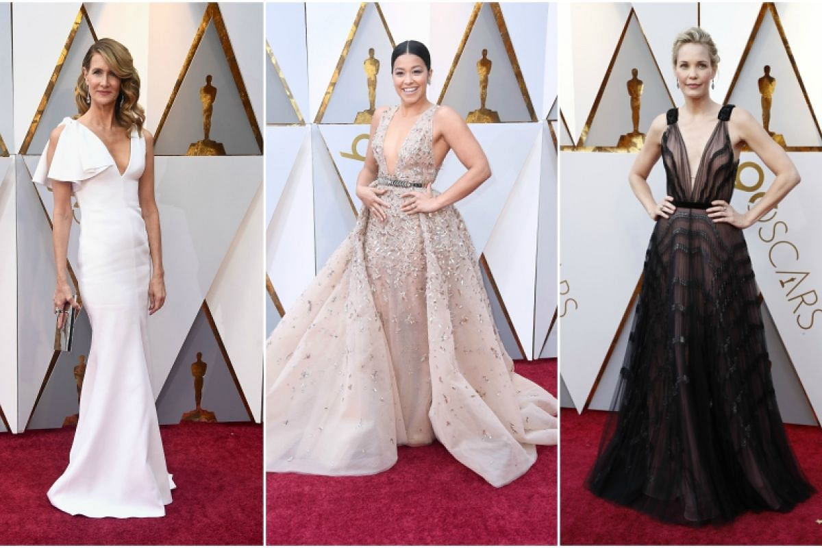 (From left) Laura Dern, Gina Rodriguez, and Leslie Bibb attends the 90th Annual Academy Awards at the Dolby Theatre in Hollywood, California on March 4, 2018.