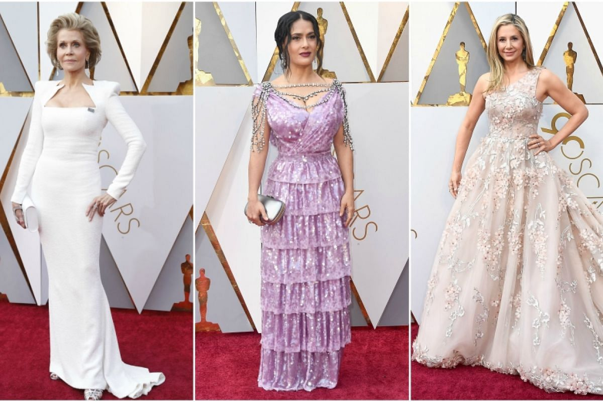 (From left) Jane Fonda, Salma Hayek and Mira Sorvino on the red carpet at the 90th Annual Academy Awards at the Dolby Theatre in Hollywood, California on March 4, 2018.