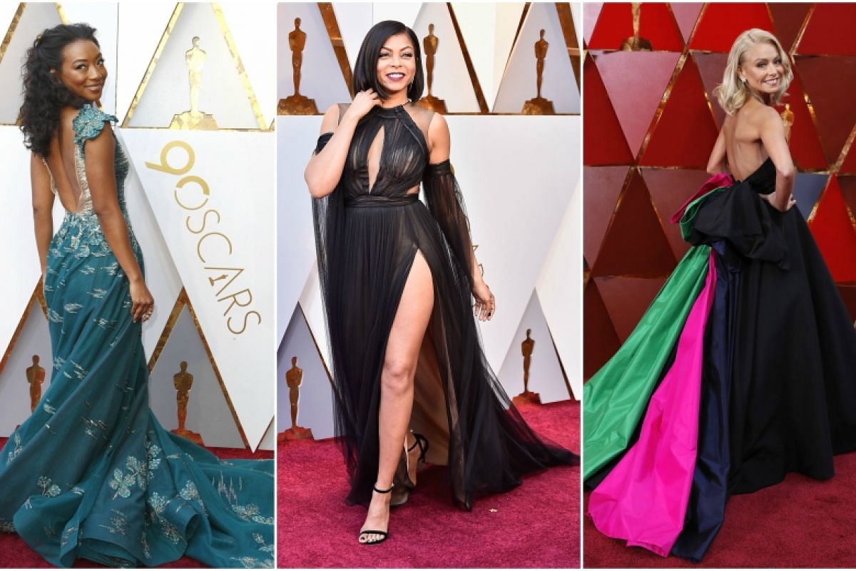 (From left) Betty Gabriel, Taraji P. Henson and Kelly Ripa arrive for the 90th annual Academy Awards ceremony at the Dolby Theatre in Hollywood, California on March 4, 2018.