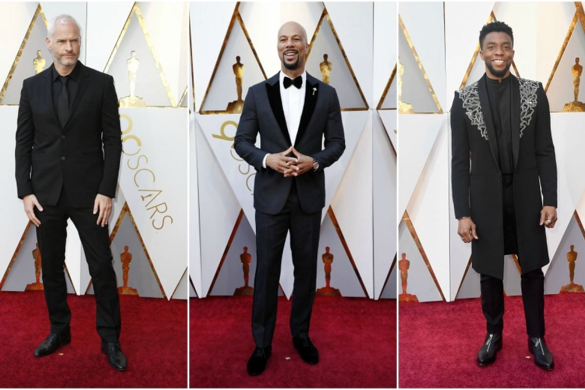(From left) Martin McDonagh, Common and Chadwick Boseman arrive for the 90th annual Academy Awards ceremony at the Dolby Theatre in Hollywood, California, on March 4, 2018.