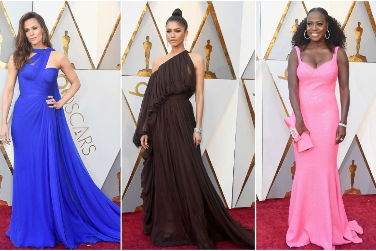 (From left) Jennifer Garner, Zendaya and Viola Davis attend the 90th Annual Academy Awards at the Dolby Theatre in Hollywood, California on March 4, 2018.