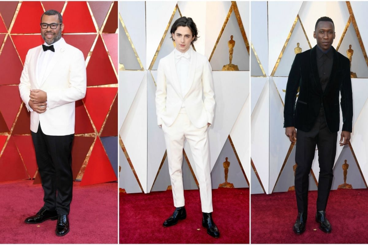 (From left) Jordan Peele, Timothee Chalamet and Mahershala Ali attend the 90th Annual Academy Awards at the Dolby Theatre in Hollywood, California on March 4, 2018.