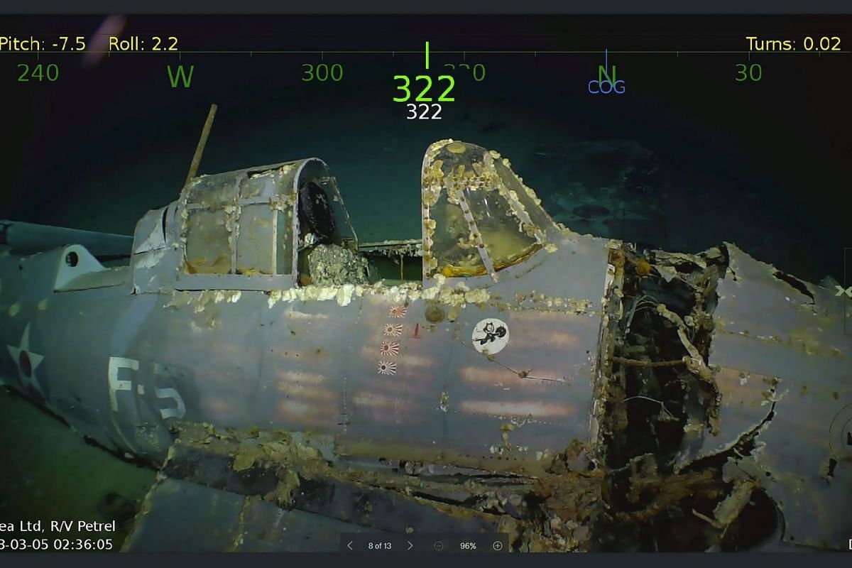 This handout photo obtained March 5, 2018  shows the wreckage from the USS Lexington, a US aircraft carrier which sank during World War II, has been found in the Coral Sea by a search team led by Microsoft co-founder Paul G. Allen. PHOTO: COURTESY OF