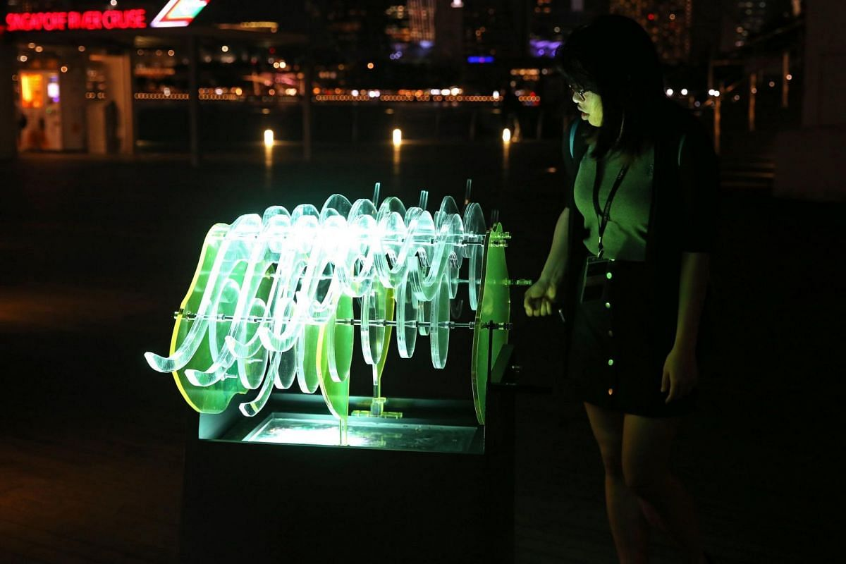 The light art installation Himantura Passage is located at the Lower Boardwalk.