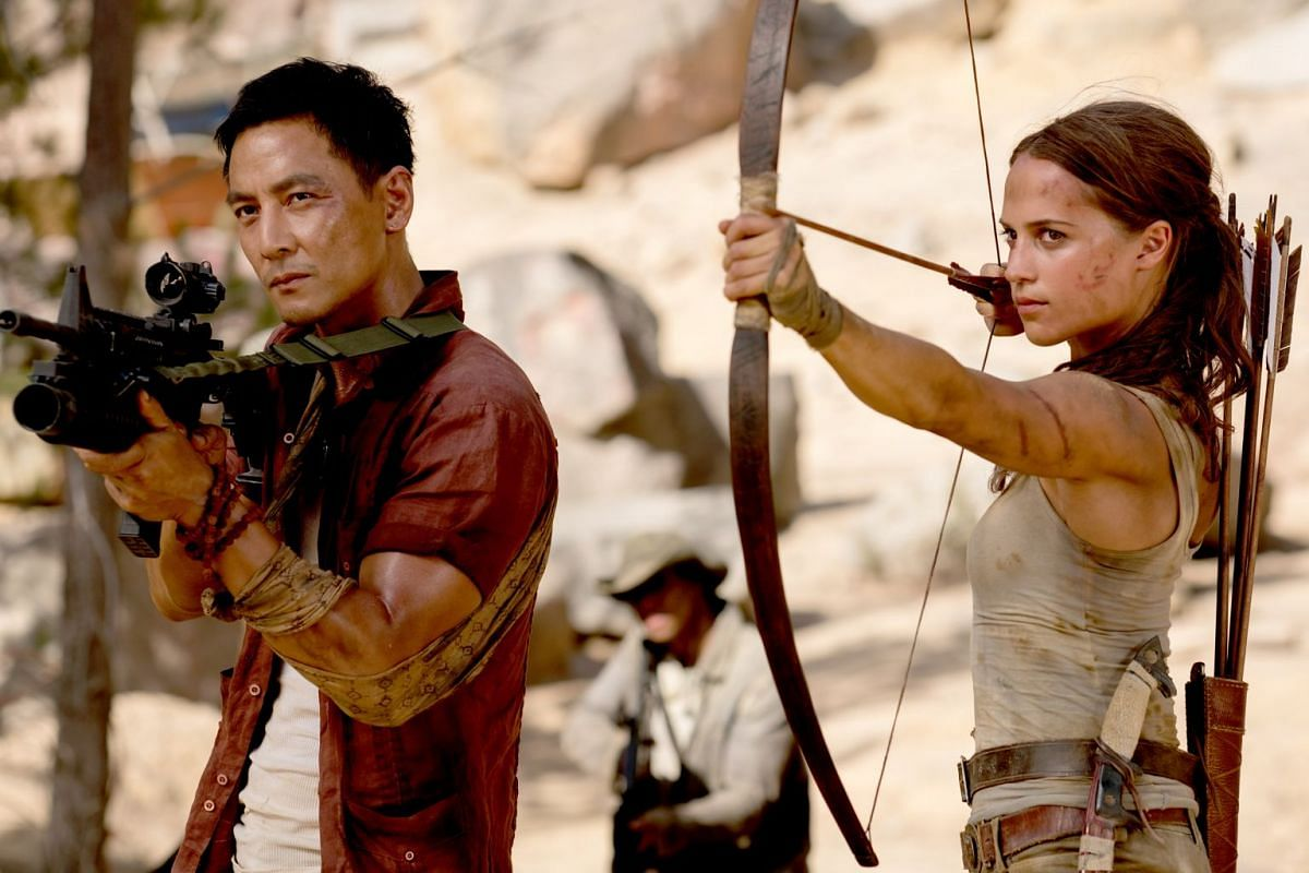 Alicia Vikander and Daniel Wu (both above) in the latest reboot of Tomb Raider.