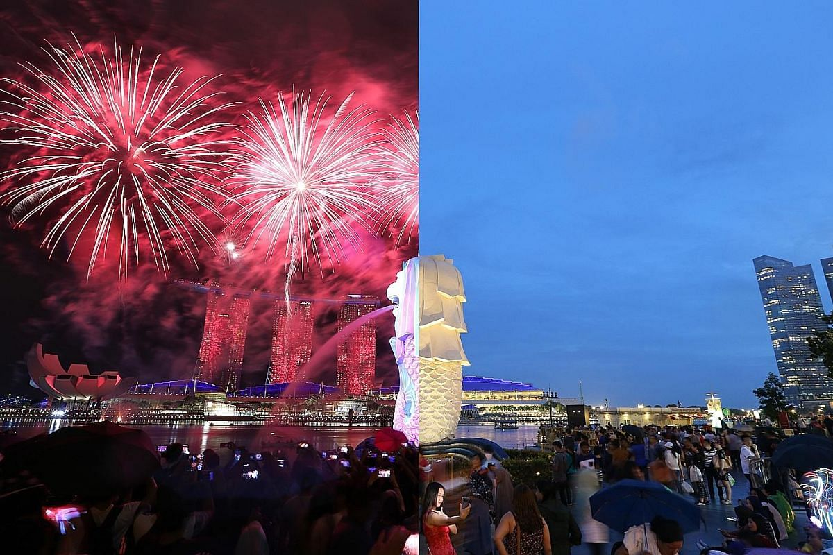 7.28pm, Dec 31, 2017 (right): A woman takes a selfie with Singapore's iconic landmarks - the Merlion and Marina Bay Sands-in the background. 9:05pm, Countdown to 2018 on New Year's Eve (left): Attention turns to the sky as it is lit by a fireworks display