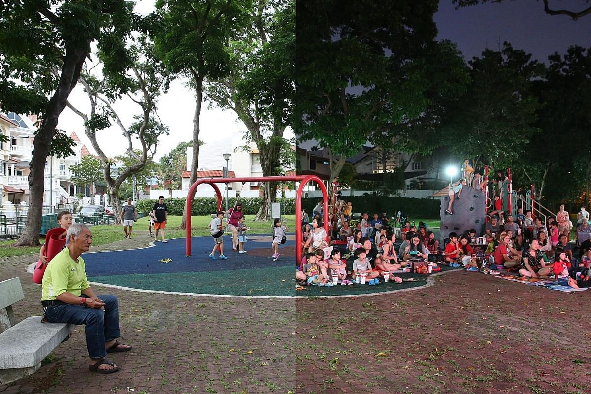 5.54pm, March 10, 2018 (left): Children having fun on the swings at the Clover Crescent Playground. 7.44pm (right): Nearby residents are already seated in their choice spots, ready to enjoy an outdoor movie screening of Spider-Man: Homecoming, with help f